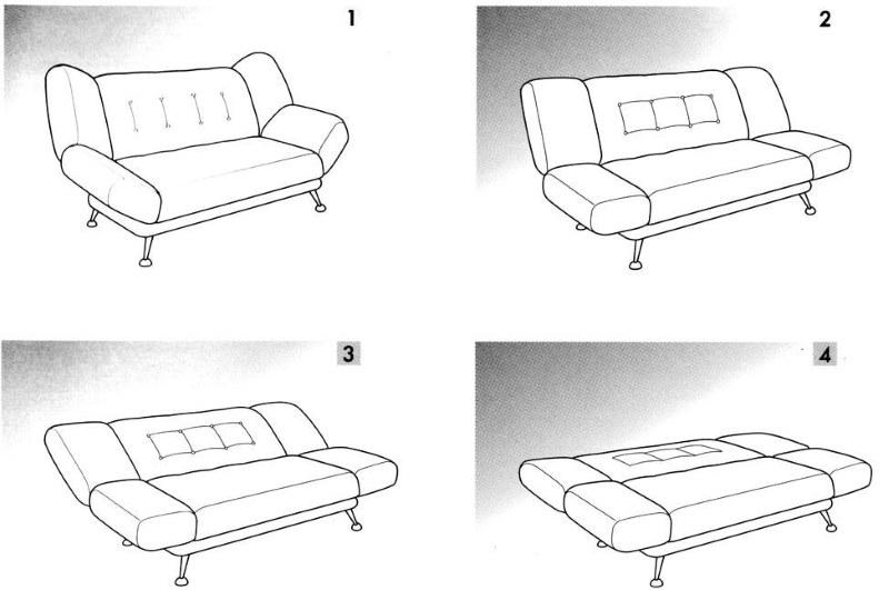 Схема раскладывания дивана с механизмом клик кляк