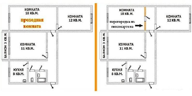 Схема перепланировки трехкомнатной хрущевки