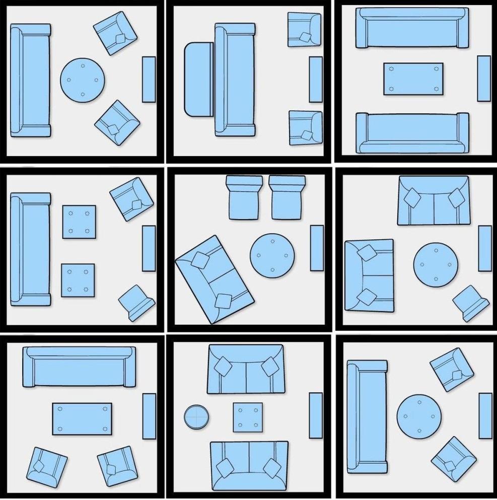Схема расположения дивана в квадратной комнате