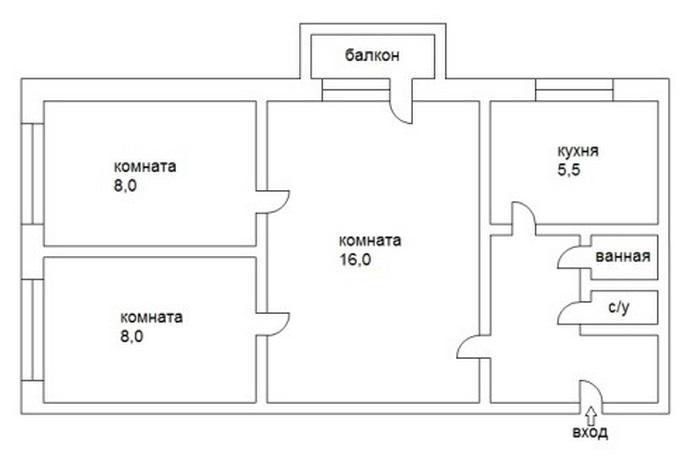 План хрущевки распашонки в панельном доме