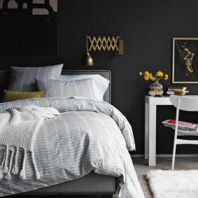 спальня чёрного цвета дизайн фото