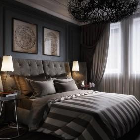 спальня чёрного цвета декор фото