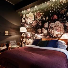 спальня чёрного цвета фото декор