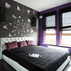 спальня чёрного цвета фото декора