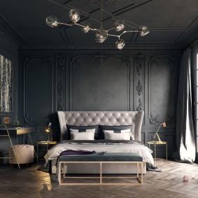 спальня чёрного цвета декор идеи