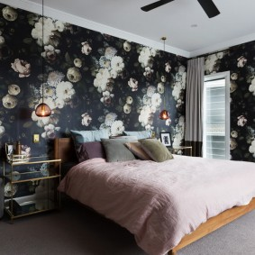 спальня чёрного цвета идеи декор