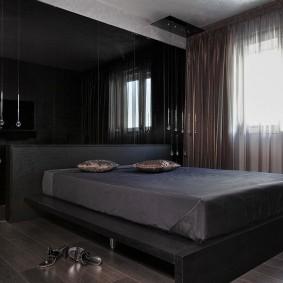 спальня чёрного цвета идеи декора