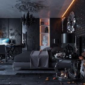 спальня чёрного цвета интерьер фото