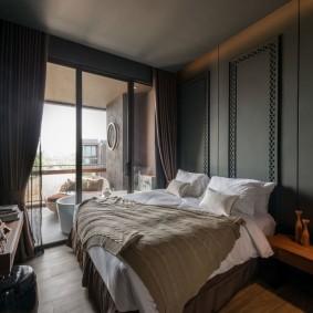 спальня чёрного цвета фото интерьера