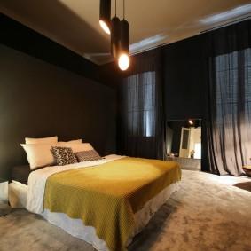 спальня чёрного цвета оформление