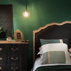 спальня чёрного цвета оформление фото