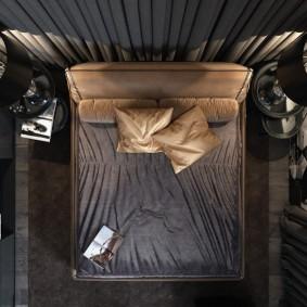 спальня чёрного цвета фото оформление