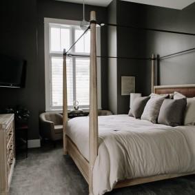 спальня чёрного цвета варианты