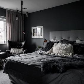 спальня чёрного цвета варианты идеи