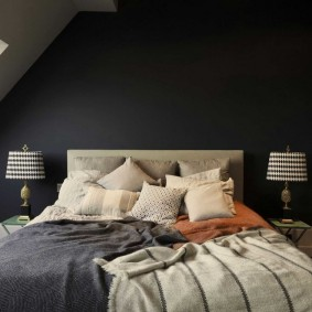 спальня чёрного цвета идеи варианты