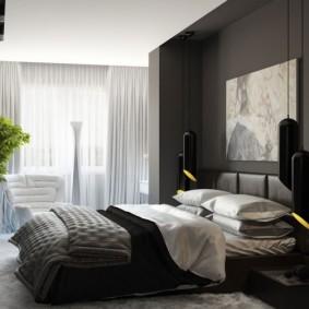 спальня чёрного цвета виды дизайна