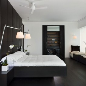 спальня чёрного цвета виды декора