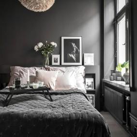 спальня чёрного цвета идеи фото