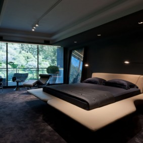 спальня чёрного цвета фото дизайна