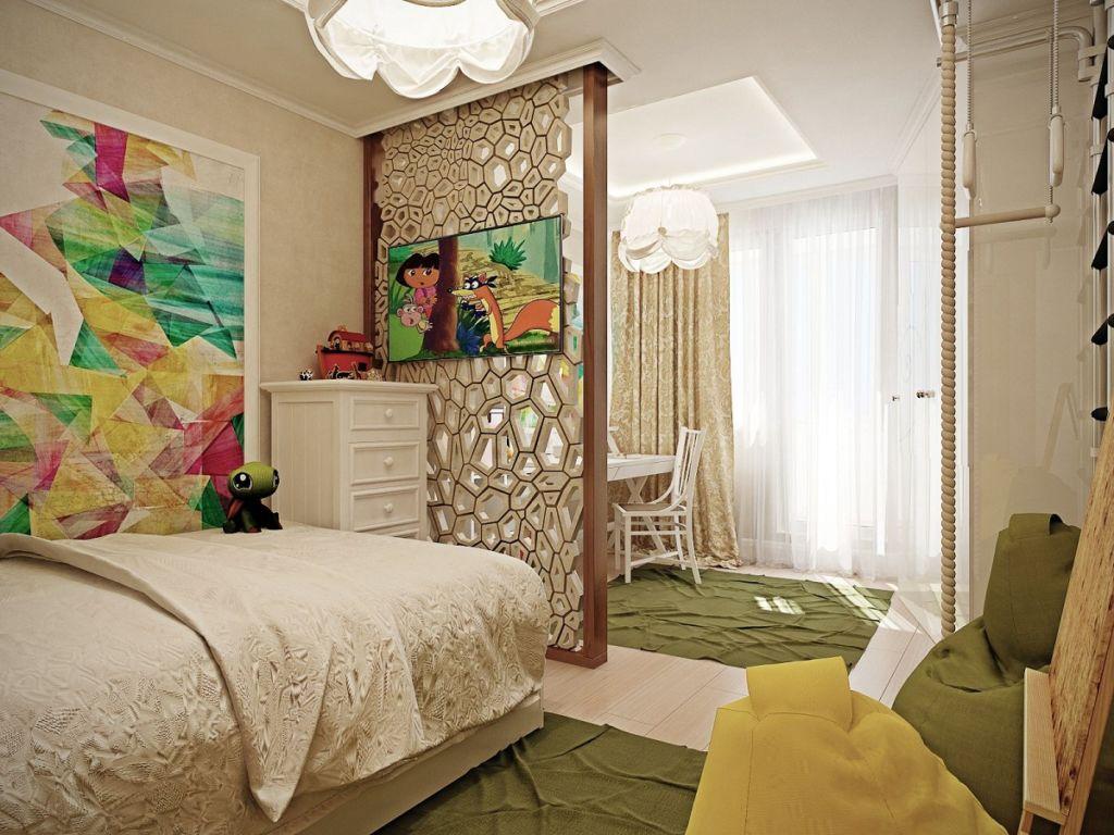 спальня и детская в одной комнате зонирование