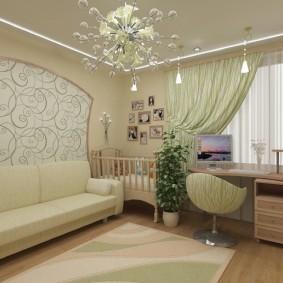 спальня и детская в одной комнате интерьер фото
