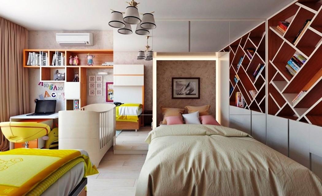 детская и спальня в одной комнате интерьер
