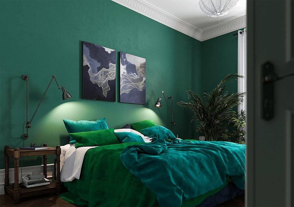 Глубокий зеленый цвет в интерьере небольшой спальни