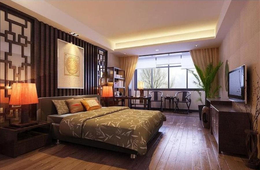 Темные тона в интерьере спальни в азиатском стиле