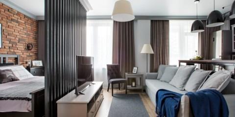 спальня в однокомнатной квартире декор фото