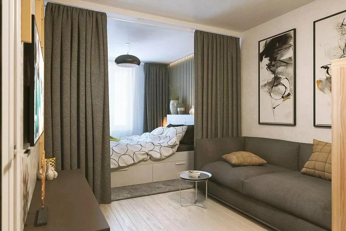 спальня в однокомнатной квартире декор