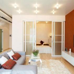 спальня в однокомнатной квартире дизайн идеи