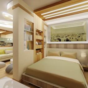 спальня в однокомнатной квартире фото дизайн