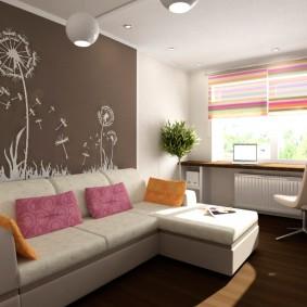 спальня в однокомнатной квартире с диваном идеи
