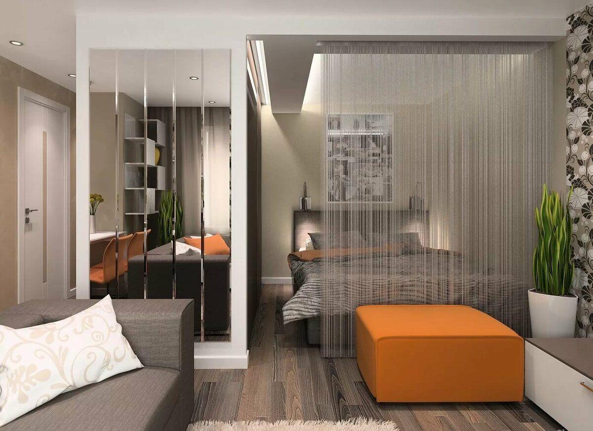 спальня в однокомнатной квартире идеи дизайн