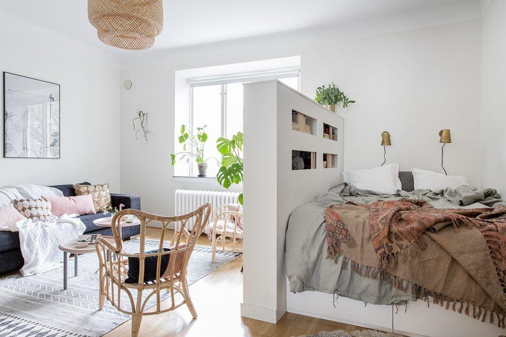 спальня в однокомнатной квартире перегородка идеи интерьера