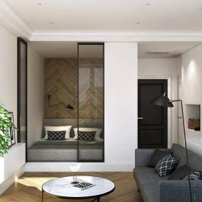 спальня в однокомнатной квартире интерьер