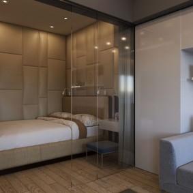 спальня в однокомнатной квартире оформление идеи