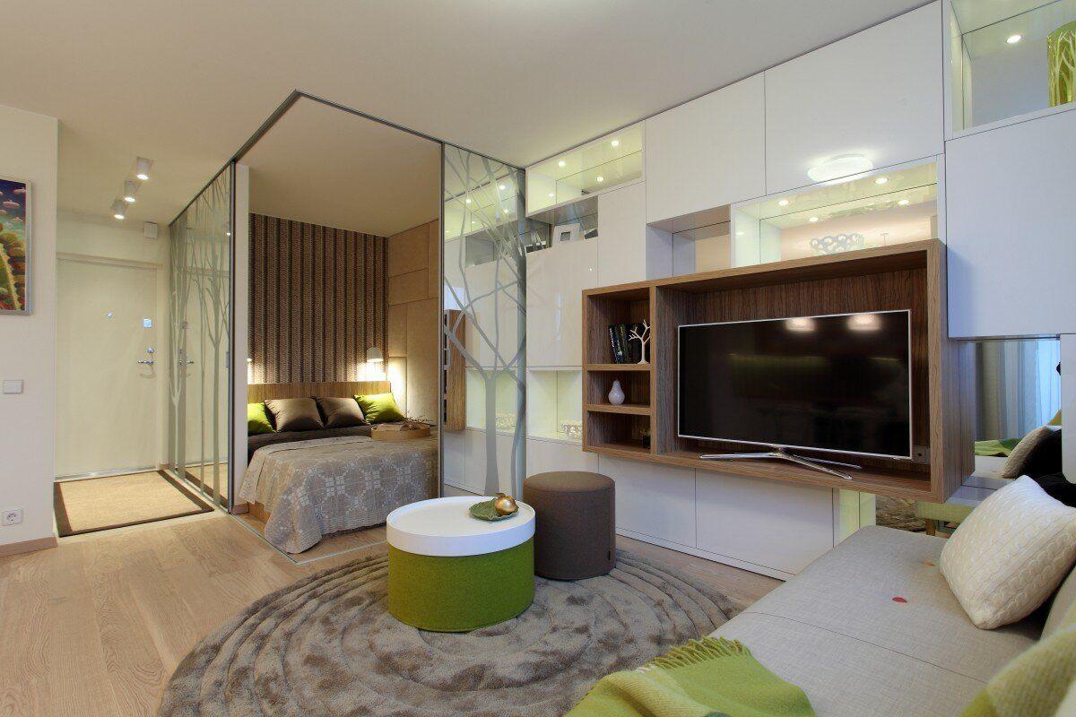 спальня в однокомнатной квартире зонирование