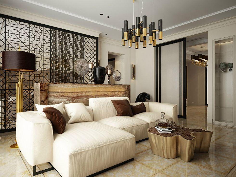 Декоративная перегородка в квартире студии