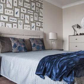 стена за кроватью в спальне интерьер
