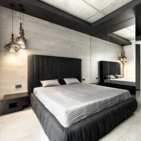 стена за кроватью в спальне интерьер фото