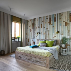 стена за кроватью в спальне оформление