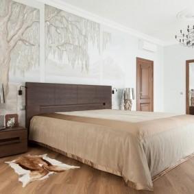 стена за кроватью в спальне фото оформления