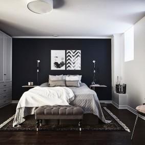 стена за кроватью в спальне оформление идеи