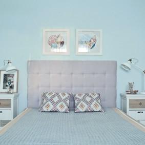 стена за кроватью в спальне идеи вариантов