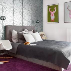 стена за кроватью в спальне виды дизайна