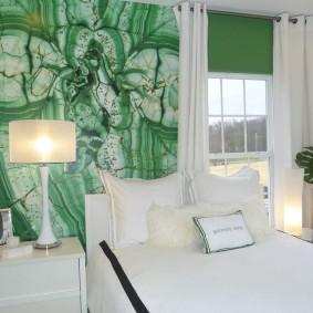 стена за кроватью в спальне виды декора