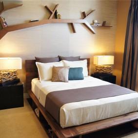стена за кроватью в спальне виды оформления