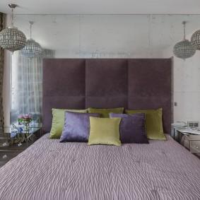 стена за кроватью в спальне дизайн фото