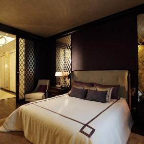 стена за кроватью в спальне фото дизайн